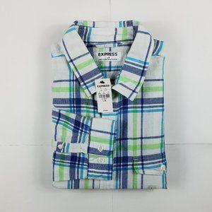 Express Men's Linen Blend Plaid Button-Up Shirt